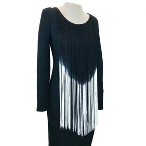 Frank Lyman Body Con Ombre Fringe Party Dress 8